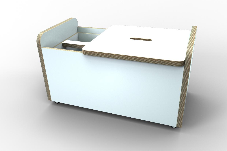 Truhe Gt Rolling Box Mit Deckel Kurz Weiß